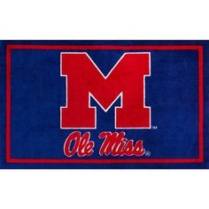 """Step up your fan game with Campus Sports Rug. These area rugs are perfect to complete your themed decor. Officially licensed college logos, now you can spread your team spirit everywhere you go. High quality machine-made nylon with carve detail construction that is super soft to the touch. Family, pet, and tailgate friendly. Vacuum regularly and spot clean. Size: 3'2""""X5'1"""". Color: Blue. Pattern: Color Block. Ole Miss Campus, Sports Rug, Indoor Rugs, Accent Rugs, Memorable Gifts, Online Home Decor Stores, Mild Soap, Cotton Canvas, Hand Weaving"""