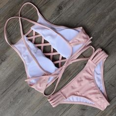 Fashion Bandage Bikini Set Swimsuit Beach Bathing Suits For Women summer swinwear - Pink - S - for my girl - Trendy Swimwear, Cute Swimsuits, Bikini Swimwear, Bikini Set, Sexy Bikini, Strap Bikini, High Cut Bikini, Crop Top Bikini, Cute Bathing Suits