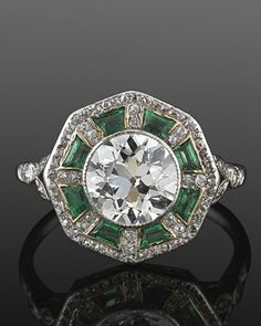 Art Deco Old European Cut Diamond And Emerald Ring Mounted In Platinum    c.1915