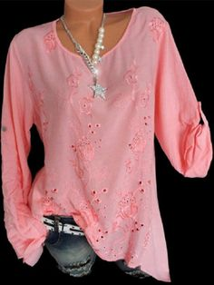 Embroidery Hollow O Neck Long Sleeve Blouses can cover your body well, make you more sexy, Newchic offer cheap plus size fashion tops for women. Mode Outfits, Chic Outfits, Fashion Outfits, Pants For Women, Clothes For Women, Short Sleeve Blouse, Long Sleeve, Tunic Blouse, Plus Size Blouses