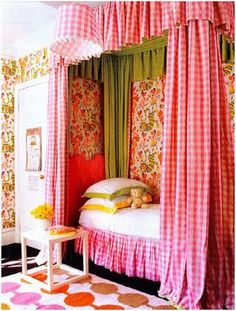 gingham bed curtains home decor