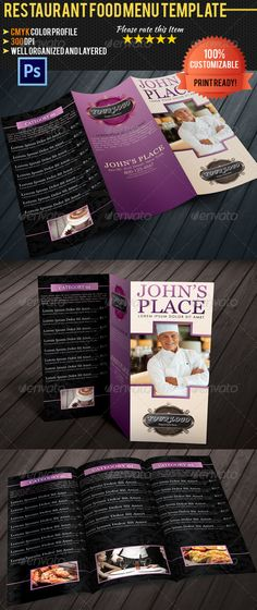 Food \/ Cafe Menu Flyer Restaurants, Magazine ads and Flyers - food menu template
