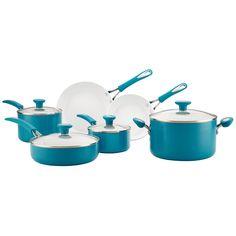 Silverstone Ceramic Nonstick Aluminum Cookware Set, 12-Piece, Marine Blue, CXi Collection