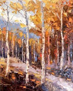 """Aspen Adventure""11x14 palette knife oil painting by Peggy Ann Thompson"