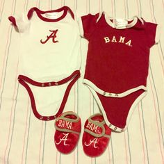 Newborn Alabama set Worn once each (onesies) slippers worn twice no stains great condition! Other