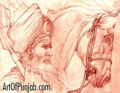 Akali Nihung (red chalk) by Sikh artist Kanwar Singh Dhillon. Visit his website at: http://www.artofpunjab.com/