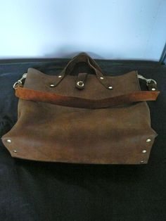 brown leather flaneur totebag by fluxproductions on Etsy