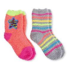 Girls' Rainbow Star Crew Socks, 2 Pairs, Size: 6-8.5, Orange