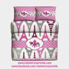 Paris and Chevron Bedding Monogrammed Bedding  PAMPERYOURSTYLE, $179.00  Personalized Bedding  Teen Bedroom