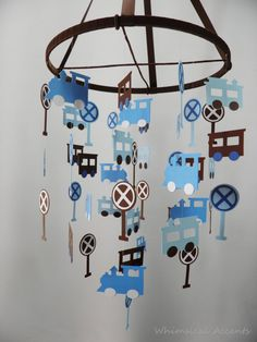 Train Set Nursery Baby Mobile in Blues and Chocolate Brown