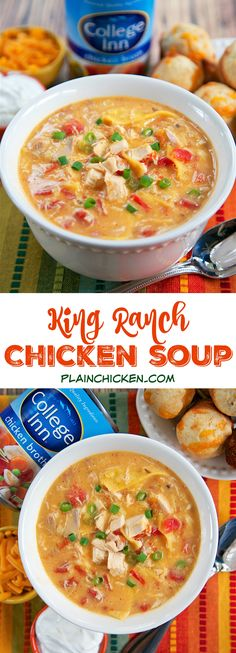 King Ranch Chicken Soup - THE BEST soup I've ever made! All the flavors of King Ranch Casserole in soup form. Rotisserie chicken (or leftover turkey) cream of chicken cream of mushroom Rotel tomatoes spices College Inn chicken broth Velveeta and tor King Ranch Chicken Soup Recipe, Chicken Soup Recipes, Chili Recipes, Slow Cooker Recipes, Crockpot Recipes, Cooking Recipes, Chicken Soups, Chicken Flavors, Easy Recipes