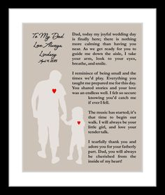 Personalized Father Of The Bride Wedding Thank You Gift Poem, Presents Under 20 For Dad Unique Gift Fob Daddy Wall Art Print Home Decor