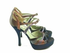 4ba044b67c88 PRADA Women s Satin Platform Ankle Strap Pumps Heels Blue Brown Purple 38.5  US 8