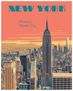 New York Travel Poster, Vintage New York Travel Poster, New York City Wall Art Print