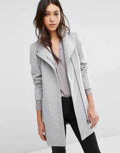 Image 1 of Vero Moda Belted Funnel Neck Wool Coat