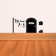 Original vinilo decorativo de la puerta de la Casita del Ratoncito Pérez, con su buzón, la ropa tendida y un trozo de queso. Wall Painting Decor, Diy Wall Decor, Wall Art, Croquis Drawing, Home Gym Decor, Cat Silhouette, Vinyl Art, Handmade Christmas, Art Boards