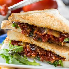 BLT with Tomato Jam and Pepper Jelly Bacon.