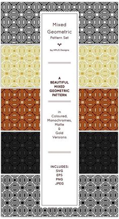 Buy Mixed Geometric Pattern by RosemaryHMJS on GraphicRiver. A pattern featuring square and circular motifs. This pattern is available in monochromes, matte, coloured and gold. Photoshop Tips, Photoshop Brushes, Square Patterns, Pattern Illustration, Matte Gold, Portfolio Design, Designs To Draw, Monochrome, Graphic Design