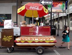"""Lucky Dog cart  They are located up and down Bourbon Street.  After all night of partying locals will get one and say: """"Lucky dogs...lucky they don't kill you."""""""