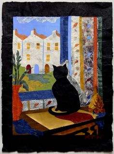 "Natasha Metaxa ""Cat staring outside the window""  collage with handmade paper, 50x35cm"