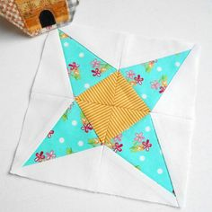 "Block 3 - Sirius. A 6"" version of Blossom Heart Quilts 'Milky Way Sampler' block."
