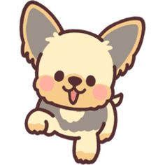 Yorkie puppy – LINE stickers Dog Drawing Simple, Cute Dog Drawing, Cute Animal Drawings Kawaii, Cute Easy Drawings, Kawaii Drawings, Kawaii Doodles, Cute Doodles, Yorkshire Dog, Yorkshire Terrier