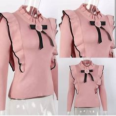No photo description available. Cute Blouses, Blouses For Women, African Fashion, Korean Fashion, Hijab Fashion, Fashion Dresses, Indian Designer Outfits, Mode Hijab, Dress Sewing Patterns