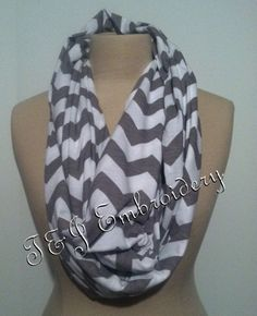 SALE  Chevron Infinity Scarf  Color Gray by tjembroidery on Etsy, $10.00