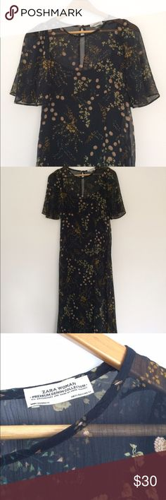 Zara dress size xs Sheer floral maxi dress with black slip. in perfect condition. Zara Dresses Maxi