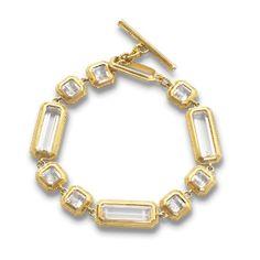 Monica Rich Kosann : Fine Jewelry at MRK Style - 18K Yellow Gold Satin Finished Rock Crystal Single-Row Bracelet, $6,000.00 (http://shop.mrkstyle.com/bracelets/18k-yellow-gold-bracelets/18k-gold-rock-crystal-single-row-toggle-bracelet-47602-white)