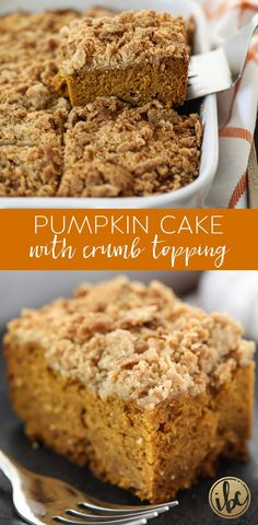 Pumpkin Cake with Crumb Topping is a delicious and easy fall dessert recipe. via Pumpkin Cake with Crumb Topping is a delicious and easy fall dessert recipe. Baked Pumpkin, Pumpkin Recipes, Pumpkin Spice, Pumpkin Foods, Pumpkin Dessert, Fall Dessert Recipes, Fall Desserts, Thanksgiving Desserts, Fall Recipes