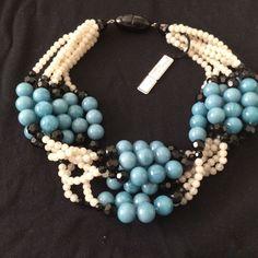 Angela Caputi beautiful resin necklace cerulean blue/light gray/black beads | Jewelry & Watches, Fashion Jewelry, Necklaces & Pendants | eBay!