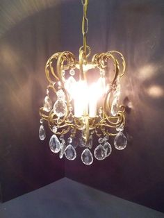 Pee Crystal Brass Chandelier Cage Light S Room Small Three Dd 767 By Dondilights On Etsy Pinterest