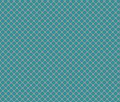 retro flower red, turqoise,petrol fabric by bollieboom on Spoonflower - custom fabric