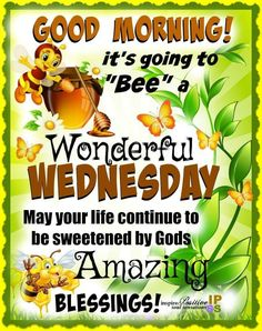 🤗 have a bee-utiful day! Wednesday Morning Greetings, Wednesday Morning Quotes, Happy Wednesday Quotes, Wednesday Humor, Sunday Quotes Funny, Good Day Quotes, Wonderful Wednesday, Good Morning Inspirational Quotes, Good Morning Quotes