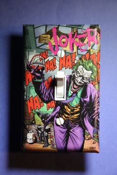 Joker Batman Light Switch Plate Cover comic book bedroom home decor dc comics superhero villain suicide squad by ComicRecycled on Etsy