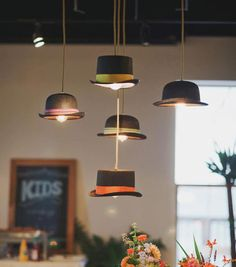 Use lamp cord kits to turn old hats into pendant lamps this is hat lights so fun mozeypictures Images