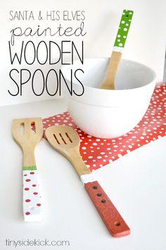 Cute, crafty neighbor gift idea! Painted wooden kitchen utensils!