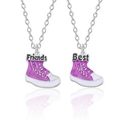 2 Pieces Of The Best Friend Necklace Creative Basketball Shoes Pendant Necklace Purple Shoes Pendant BFF Friendship Jewelry Gift Bestfriend Necklaces For 2, Bff Necklaces, Best Friend Necklaces, Matching Necklaces, Couple Necklaces, Cluster Necklace, Heart Pendant Necklace, Necklace Types, Necklace Set