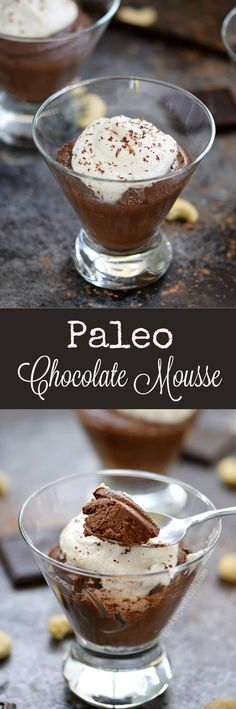 This rich and creamy Paleo Chocolate Mousse is the perfect ending to a healthy meal. It's topped with whipped cashew cream and contains no banana, avocado, or coconut   cookingwithcurls.com