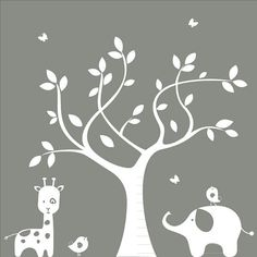 Nursery wall decal - Silhouette Tree, Elephant, Giraffe, Birds - Wall Decal via Etsy