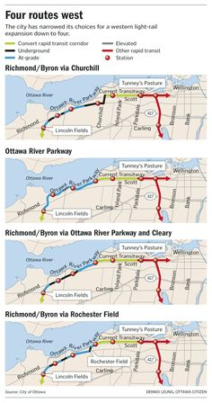 Graphic: Top four possible western LRT routes
