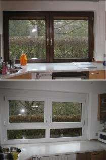 altes Holzfenster und neues Kunststoff-Aluminium-Fenster -------------- old wooden window and new pvc-aluminium-window