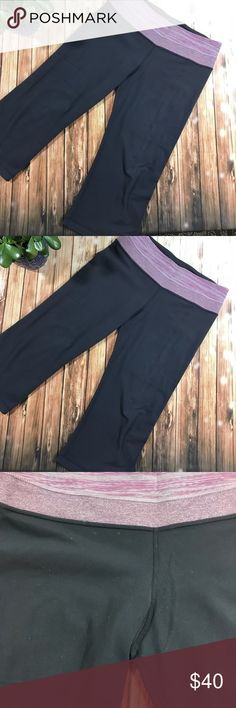 Lululemon reversible Capri Gently used condition . Size 8 reversible gray and violet pink colors, 3/4 length . Perfect workout yoga capris lululemon athletica Pants Capris