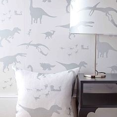 LOVE this dinosaur wallpaper! Perfect for boy room accent wall!