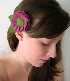 Ruffled felt flower hairclip