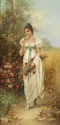 Hans Zatzka Circle Girl with Meadow Flowers And Roses
