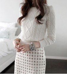 $13.12 Hand Cable-Knit Beam Waist Acrylic Solid Color Sweater For Women