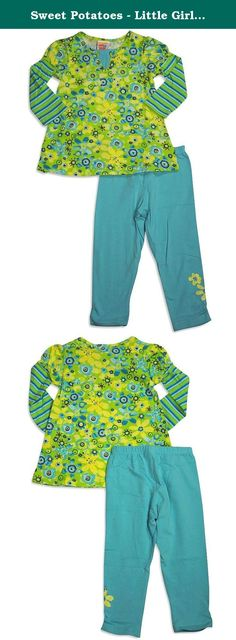 Sweet Potatoes - Little Girls's Long Sleeve Floral Legging Set, Lime, Aqua 30973-4T. Sweet Potatoes - Girls Long Sleeve Floral Legging Set, Lime, Aqua, Layered Look, Striped Sleeves, Legging to Match, Full Elastic Waistband, Ruched Ankles With Sparkled Flower, Bodice 100% Cotton Sleeves and Legging 95% Cotton 5% Spandex, Made In Vietnam, #30973 30-973.