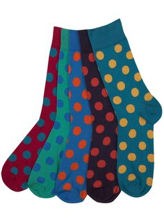 Men's Bright Spotty 5 Pack Socks by Topman . Rad under a plain suit with brogues Ugly Socks, Cool Socks, Socks Men, Men's Socks, Fashion Socks, Mens Fashion, Patterned Socks, Colorful Socks, Designer Socks